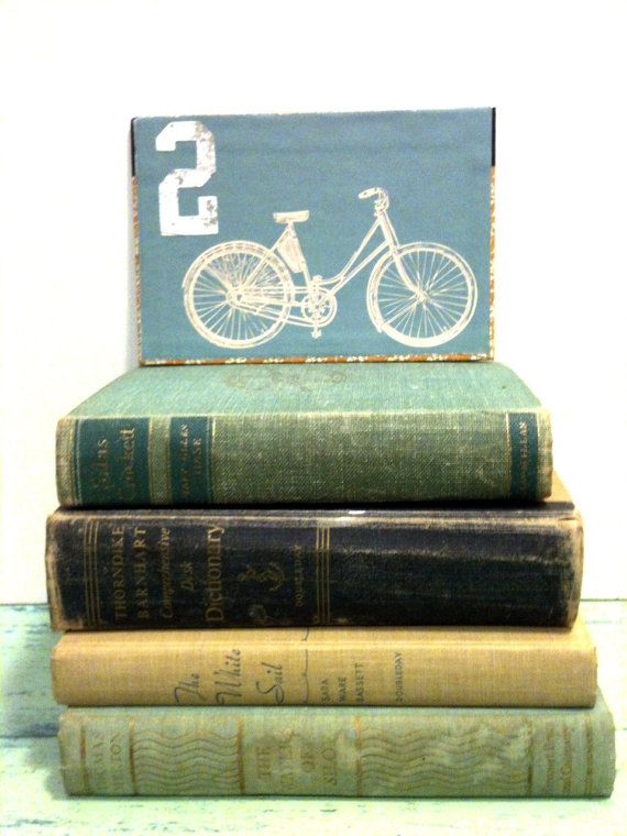 Vintage Beach Bicycle Wedding Table Numbers Decor Light Blue Books Retro
