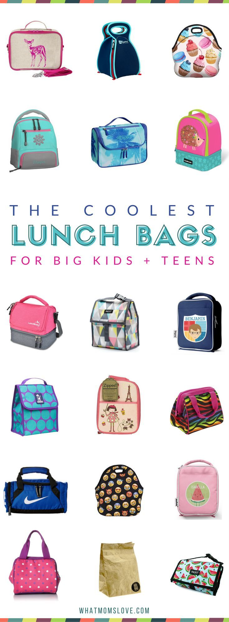 Best lunch bags for kids and teens | Insulated, innovative, cute and stylish lunch bag and box ideas for back to school. Emojis, personalized, patterns and more unique designs.