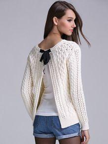 Suéter cuello redondo hueco con abertura -blanco