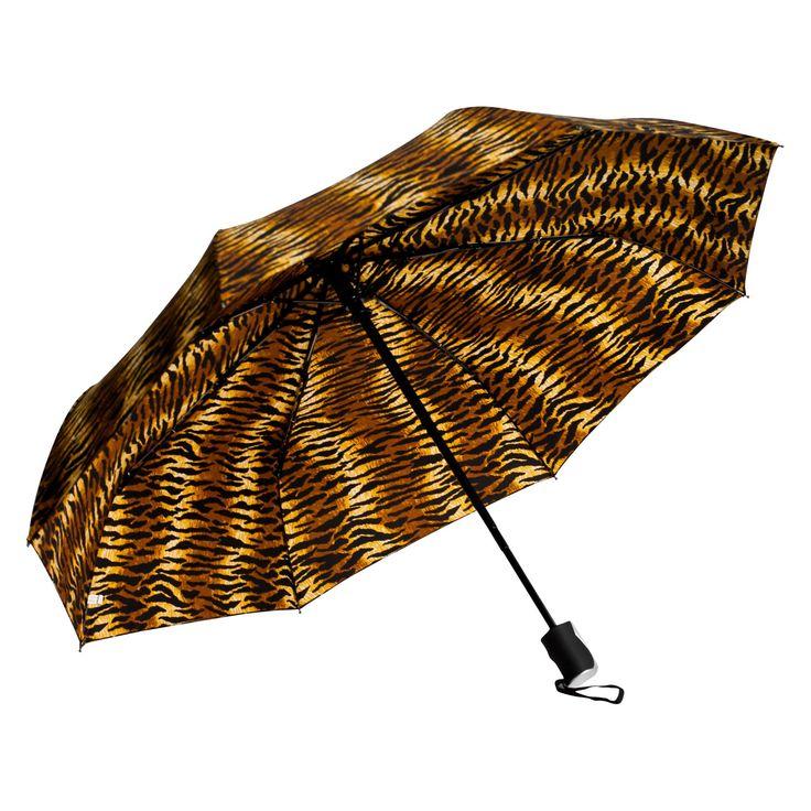 Elite Rain Umbrella Mini Triple-Fold Umbrella - Tiger Print - RM01-TG