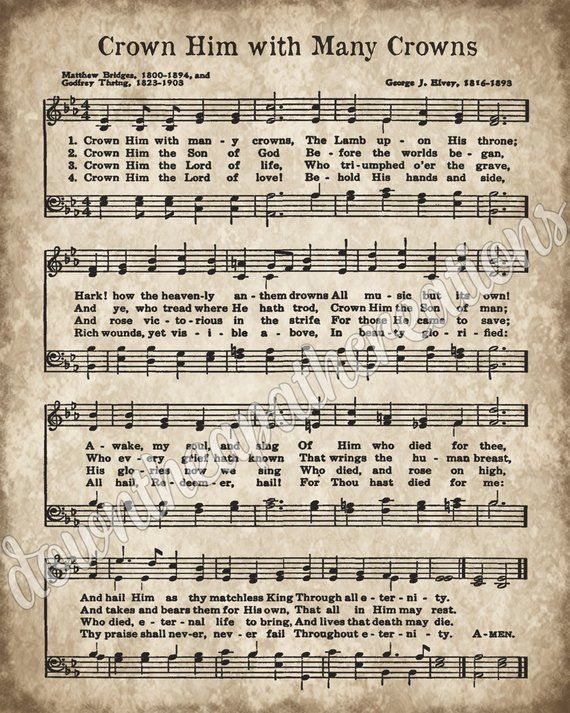 Crown Him With Many Crowns Printable Vintage Sheet Music Instant