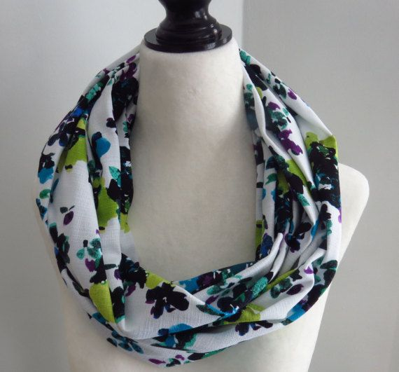 Infinity scarf blue purple lime green infinity by MelyndaSwan