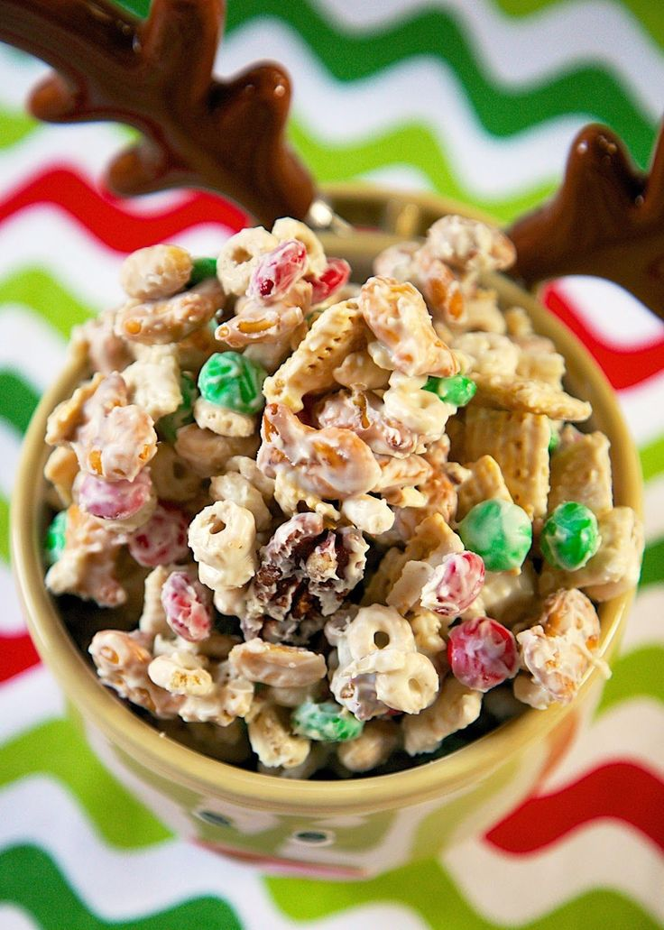 Alton Brown's White Trash Mix - white chocolate chex mix - HIGHLY addictive! Makes great neighbor or co-worker gifts.