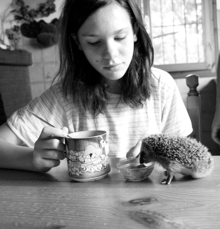 """Together for breakfast"" Photo by Giulia Bergonzoni little girl and hedgehog, black and white"