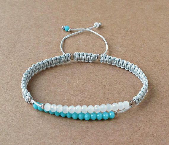 Faceted Glass Beads Bracelet, Dainty Jewelry, Caribbean Blue Beads, White Beads, Macrame Bracelet, Gift For Women, Satin Cords, Adjustable