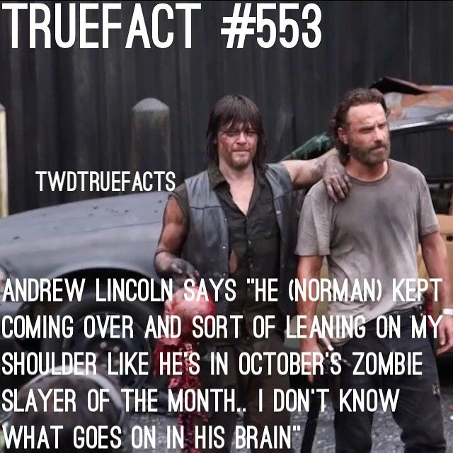 Walking Dead fact - Crossed - Norman Reedus posing with Andrew Lincoln - Fangirl - The - Walking Dead