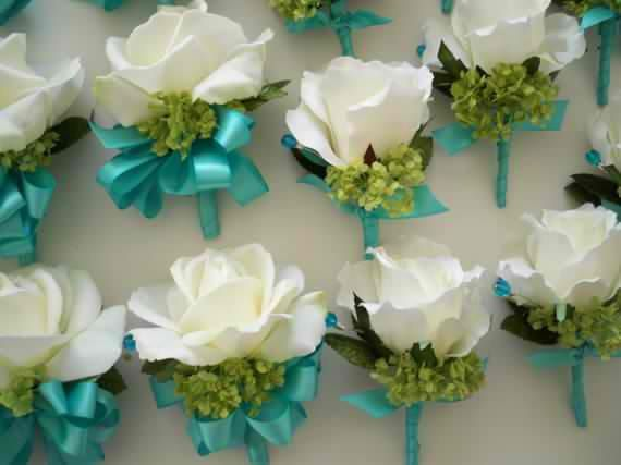 Realtouch Roses and Green Snowball Tiffany Blue Wedding Bridal Bouquet Set. $395.00, via Etsy.