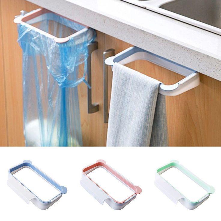 Trash Bag Holder Hanging Bracket Garbage Bin Kitchen Gadget Tool Plastic