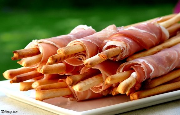 Prosciutto Wrapped Breadsticks! My grandmother used to make these for every family get together.