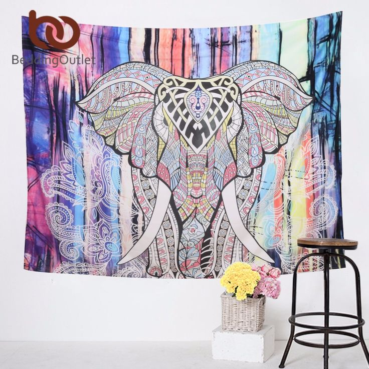 Elephant Tapestry Colored Printed Decorative Mandala Tapestry Indian 130cmx150cm 153cmx203cm Boho Wall Carpet *** Click the VISIT button to find out more