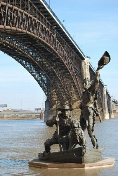 Lewis and Clark statue St Louis Riverfront we did not expect to see this and it freaked us out lol (Stacy Barrett, and Nicole Franklin)