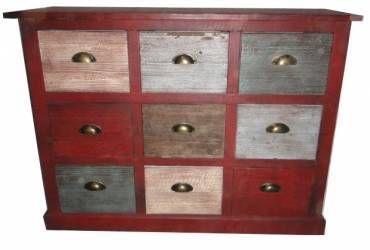 Large Nine Drawer Multicoloured Cabinet 70 x 19 x 70cm