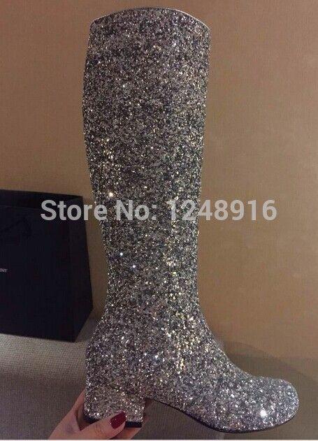 Goedkope mod stijl vrouwen knie hoge laarzen lange goud zilver glitter pailletten 3 cm dik hak mode ridder laarzen vrouwen, koop Kwaliteit vrouwen laarzen rechtstreeks van Leveranciers van China: