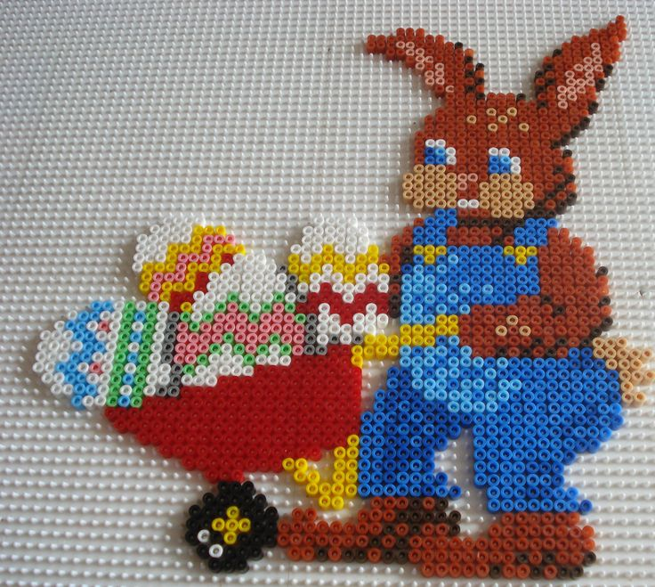 Easter rabbit hama perler beads by Chantal Jacquinet