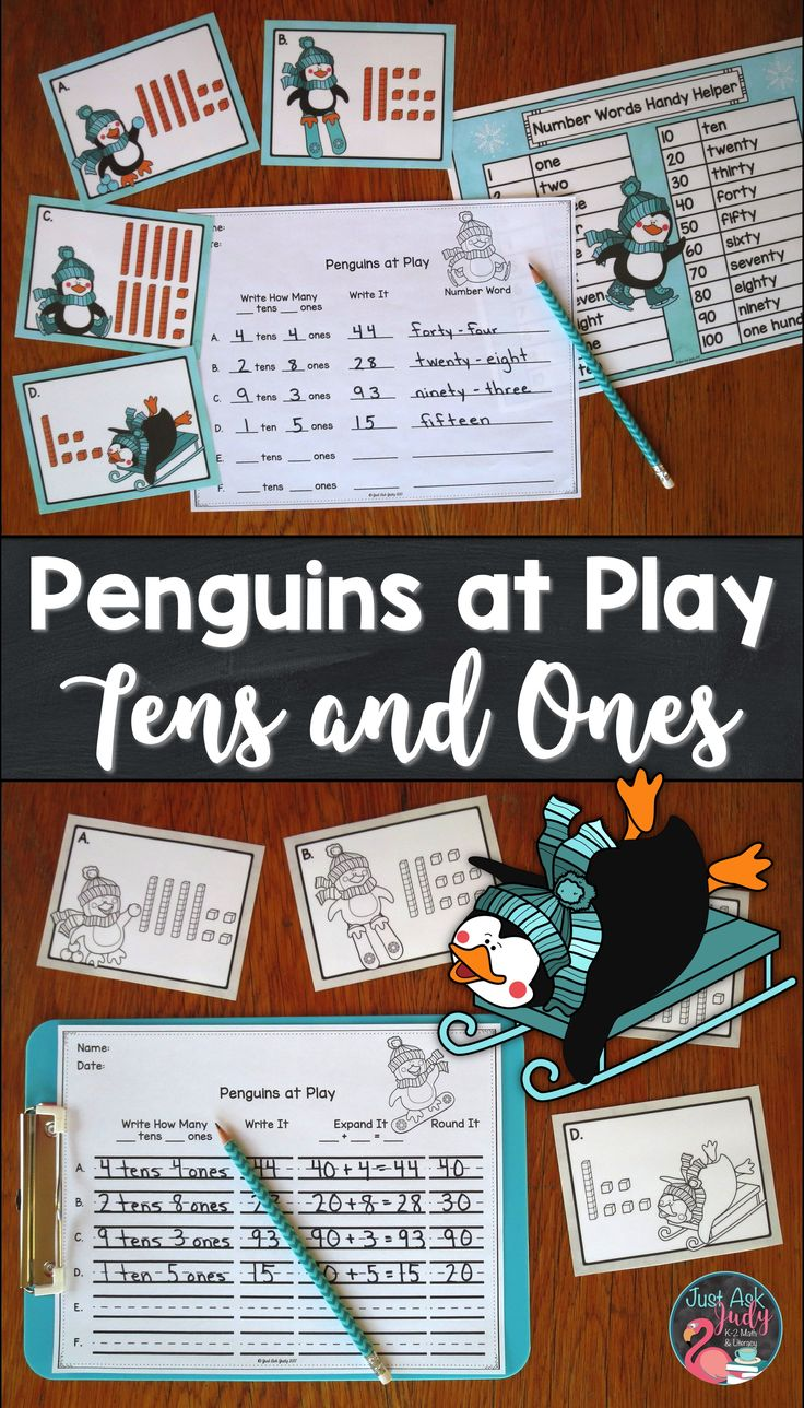Check out this winter penguin-themed roam the room small group place value activity for first and second grade math that reinforces representing two digit numbers in different forms; base ten, standard form, expanded form, and number word. $