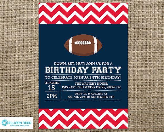 Football Invitation  Football Birthday  Sports by EllisonReed