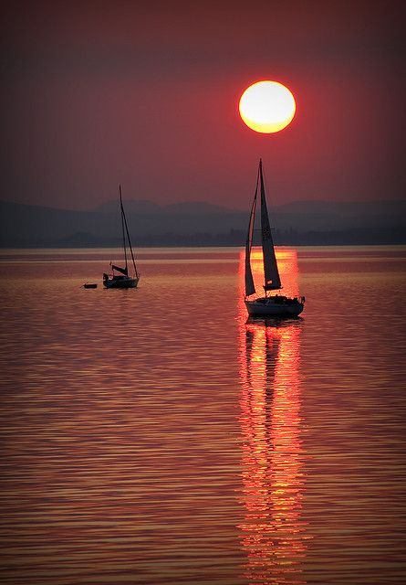 Reflecting on a Sunset on Lake Balaton, Hungary
