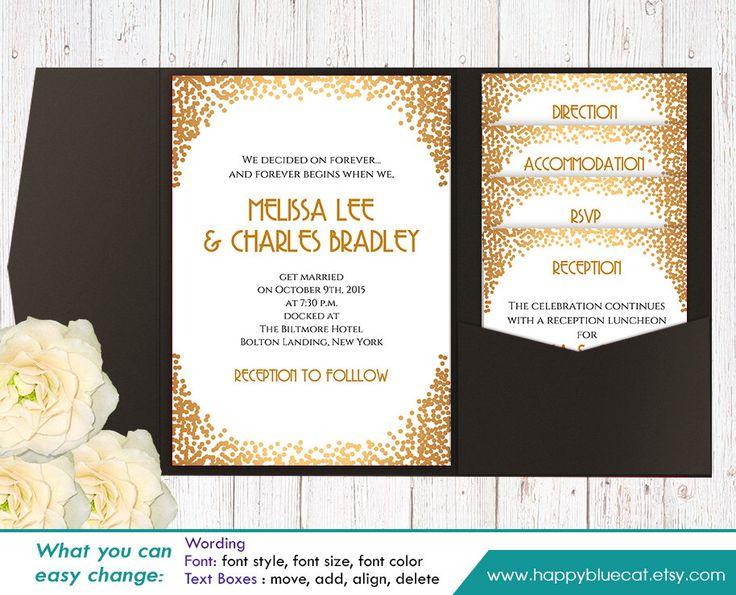 Diy printable pocket wedding invitation template set for Diy wedding invitations with pockets