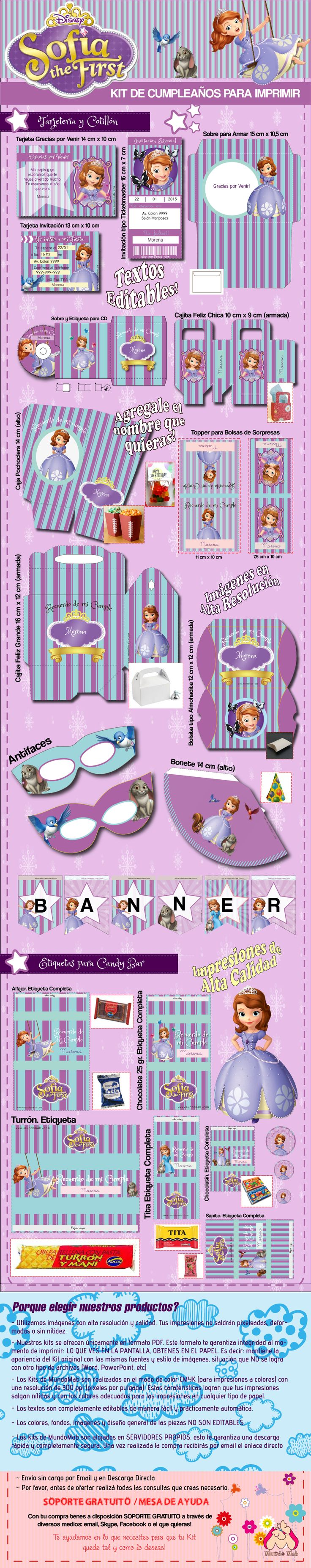 Kit de cumpleaños para imprimir Princesa Sofía. Incluye tarjeta de cumpleaños, cajita feliz, etiquetas para candy bar y mucho mas!…