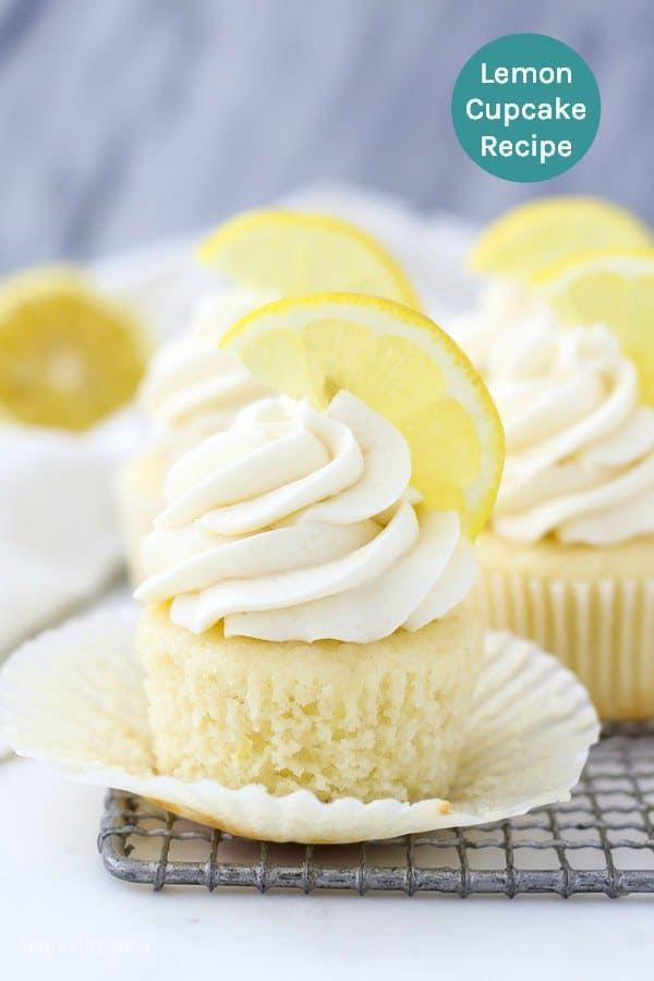 These Homemade Moist Lemon Cupcakes Are Topped With A Creamy Lemon Buttermilk Frosting Leaving Just The Right Lemon Cupcake Recipe Cupcake Recipes Savoury Cake