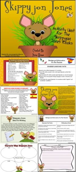 Skippyjon Jones Book Unit ~ This unit has 108 pages of ideas, discussion questions, activities, graphic organizers, projects and printables that correlate with all five Skippyjon Jones Books written by Judy Schachner. This unit includes: ~Book List ~Ideas for all five books ~Background information for the teacher on Spanish Language Facts, Siamese Cats and Chihuahuas. ~Spanish/English Vocabulary List From The Books ~Teacher lesson plan ideas ~The Many Faces of Skippyjon $