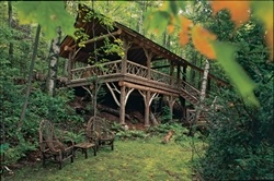 The Party Pavilion; tucked away in the forest.
