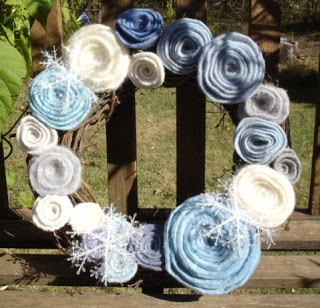 felted wool rose wreath tutorial