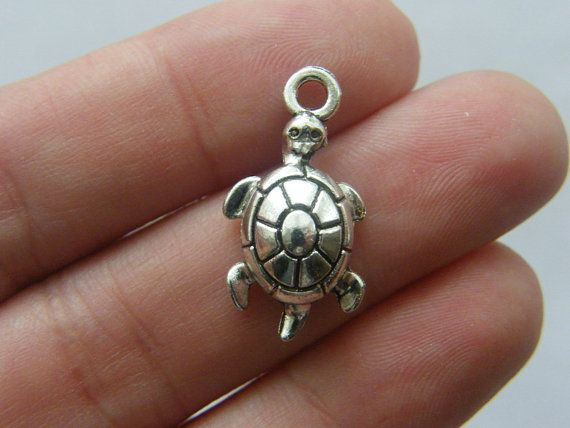 6 Turtle charms 12 x 23mm antique silver tone T17 by nicoledebruin, $2.50