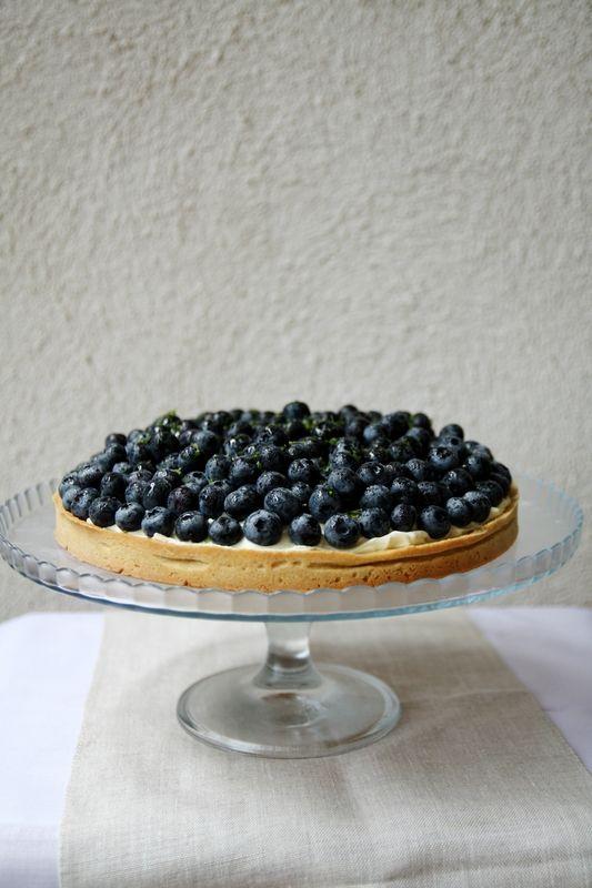Tarte aux myrtilles, crème vanille-mascarpone