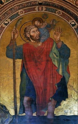 Taddeo di Bartolo - San Cristoforo - affresco - 1414 circa - Siena - Palazzo Pubblico, anticappella