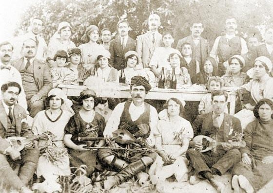 Musicians playing the fiddle, the mandolin and the lyra, ealy 20th century (Archanes, Heraklion).