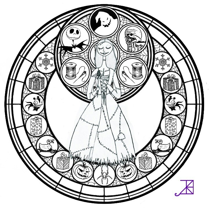 Kingdom hearts nightmare before christmas stained for Sally nightmare before christmas coloring pages
