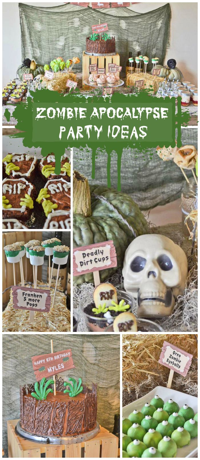A not too scary zombie party where the kids used nerf guns to hunt zombies and ate zombie food!  See more party ideas at CatchMyParty.com!
