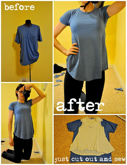 Large T-Shirt Into Flowy Tee...might make a great maternity shirt