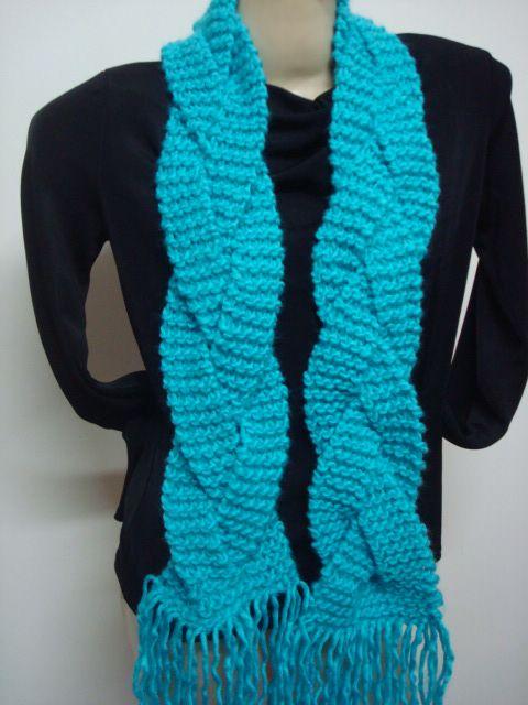 cachecol de tricô modelo trançado