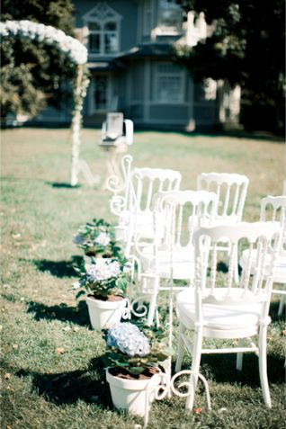 White wedding ceremony chairs | Anastasiya Belik Photography | http://burnettsboards.com/2013/12/powder-blue-white-wedding/