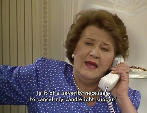 Keeping Up Appearances -- Hyacinth and her candlelight suppers. :) Patricia Rutledge, Clive Swift (Richard Bucket), Judy Cornwell (Daisy), Geoffrey Hughes (Onslow), Mary Millar (Rose), Anne Dawson (Violet), Joesphine Tewson (Elizabeth) and David Griffin (Emmett). (1990-1995)