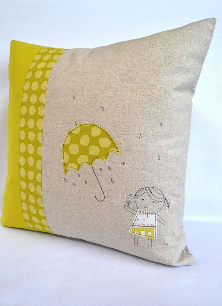 Umbrella Girl cushion, throw pillow, cushion cover , applique embroidery design. $45.00, via Etsy.