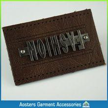 fashion metal leather labels wholesale custom leather patches with metal jeans leather labels sell jeans leather labels sales(China (Mainland))