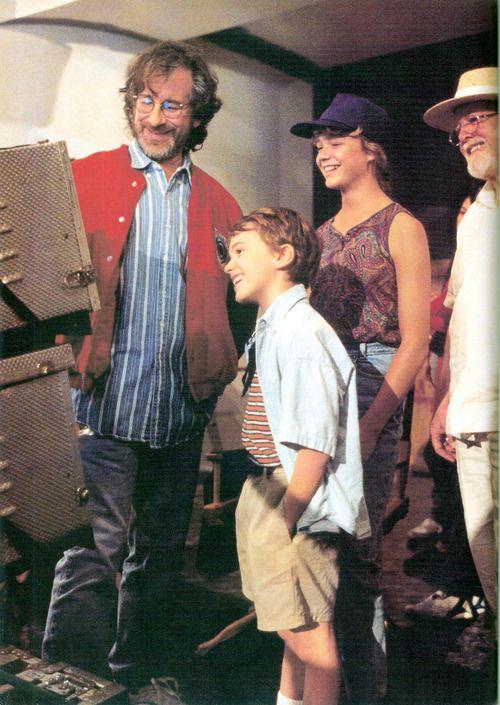 Steven Spielberg, Joseph Mazzello, Ariana Richards, and Richard Attenborough on the set of Jurassic Park in 1992.