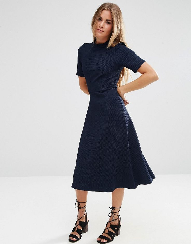 Image 1 of ASOS Textured Midi Dress with High Neck
