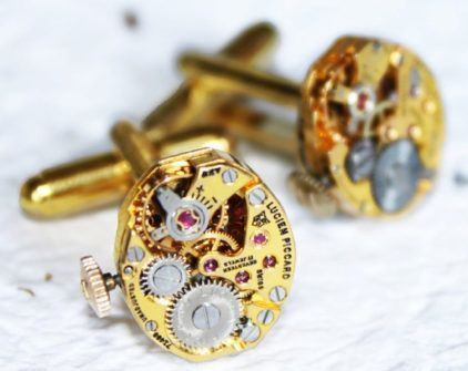 Luxury Steampunk Cufflinks: RARE Prestigious Gold Genuine LUCIEN PICCARD Swiss Watch Movement Men Steampunk Cufflinks Wedding Gift by TimeInFantasy