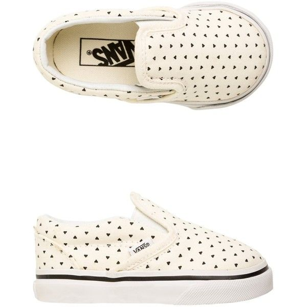 Vans Classic Slip-On Micro Hearts Shoe ($32) ❤ liked on Polyvore featuring shoes, baby girl, kids, white, heart shoes, slip-on shoes, canvas shoes, white slip on shoes and vans shoes
