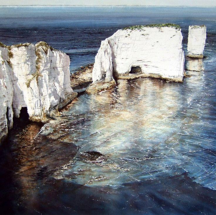 Evening Sun; Old Harry Rocks by Deborah Walker (British artist)