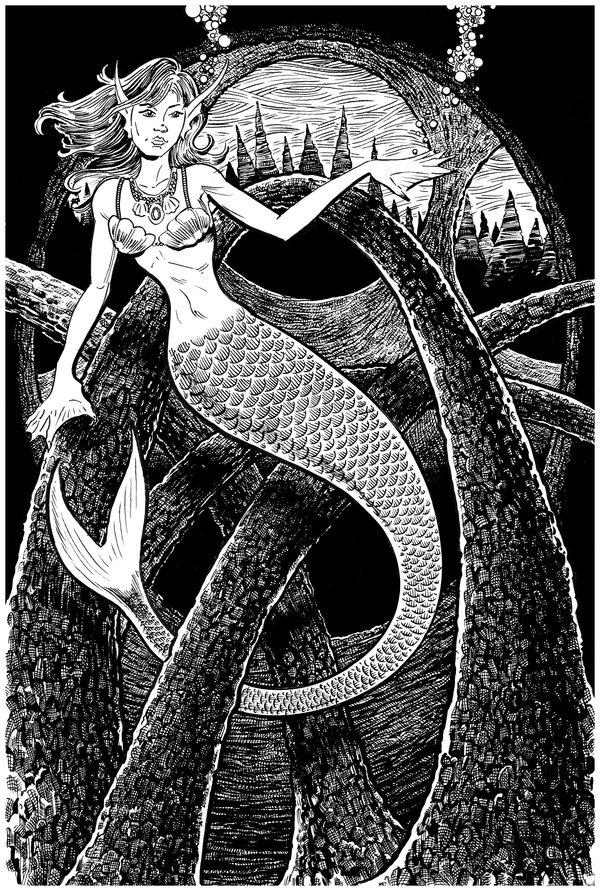 Mermaid and the Arches by *DavidAyala on deviantART: Appreciation Art, White Drawing, Magic Things