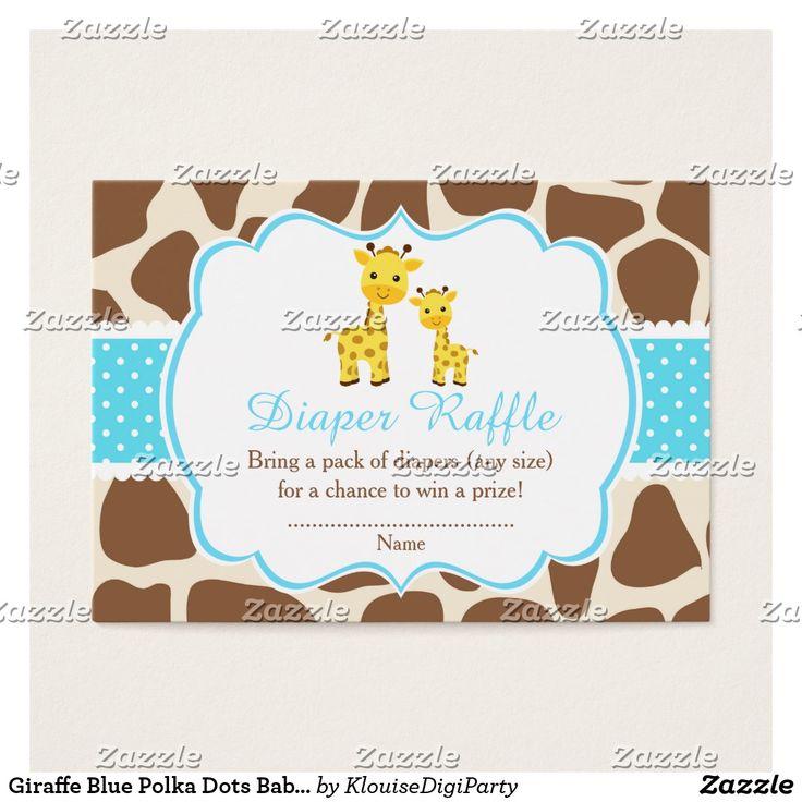 Giraffe Blue Polka Dots Baby Shower Diaper Raffle Business Card