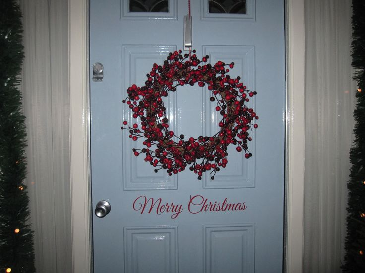 Merry Christmas decal and Berry wreath