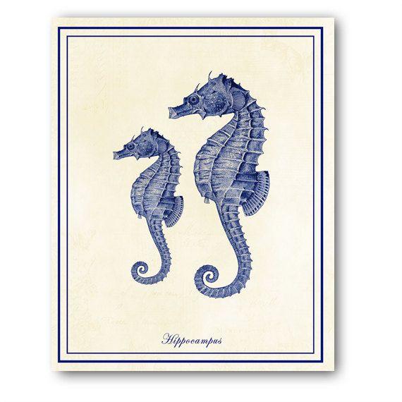 Seahorse Home Decor Wall Art Coastal Decor By Seashoresecrets: Vintage Blue Seahorse Print Nautical Art By
