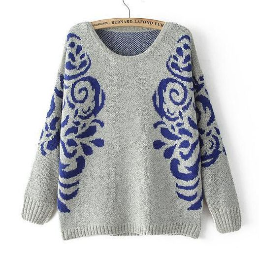 Pullover sweaters casual totem pattern tops for women CY-E825X6