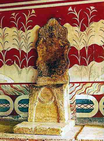 Minoan, The Throne Room Of The Palace at Knossos in Akrotiri. The throne was discovered at the site and is probably the oldest known throne in Europe.